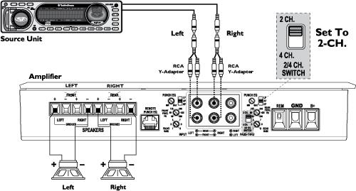 ch amp wiring diagram subs 4 channel amp wiring sub and 2 speakers 4 image how to bridge an amplifier pictures